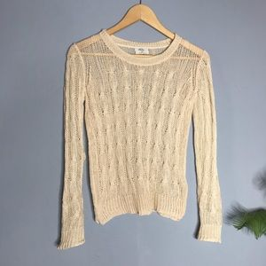 Madewell Wallace Sheer Cable Knit Cream Sweater XS